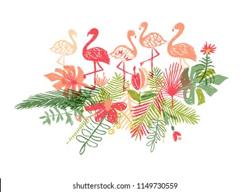 Lets flamingle, hand drawn flamingo and tropical flower leaf, jungle composition, vector illustration isolated on white background. Exotic plant and bird, doodle style