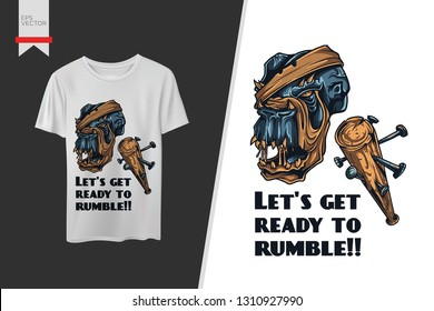 Lets get ready to Rumble: Abstract Monster T-shirt Design for print Vector template