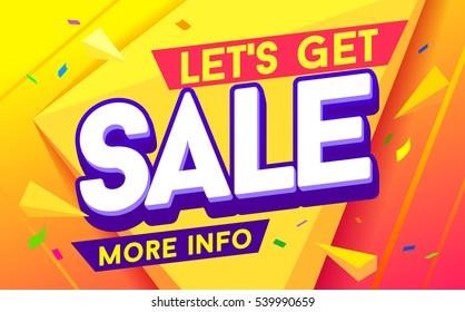 Let's get sale for mobile app banner. Discount banner design. Sale and discounts. Vector illustration