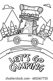 Let's go camping Concept. A bear with car go mountains. Summer camping in the forest holiday. Coloring pages.