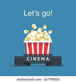 Let's go to the cinema! Popcorn box and film strip. Cinema Poster Design Template.