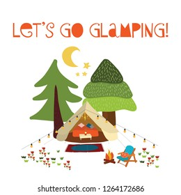 Lets go glamping - summer camping scene vector illustration. Boho teepee tent. Camp night scene with campfire, chairs, trees, moon. Forest adventure. For cards, poster, advertisement, decor, vacation