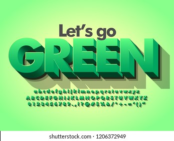 """""""let's go green"""" nature 3d bold green typeface design for title and logotype"""