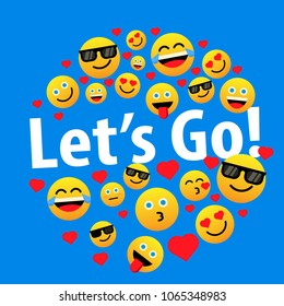 let's go, label or sign for greeting card or poster