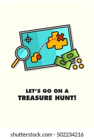 Let's Go On A Treasure Hunt! (Map With Magnifying Glass and Money Line Icon Quote Poster Design)