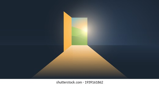 Let's Go Outside - Dark Room, Light Coming In Through an Open Door - New Possibilities, Hope, Overcome Problems, Solution Finding Concept, Background or Design Template