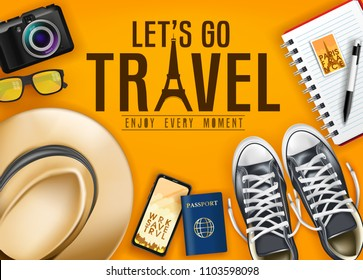 Let's Go Travel Enjoy Every Moment Text with Realistic Shoes, Hat, Passport, Phone and Camera for Vacation in Blue Background Top View Banner. Vector Illustration
