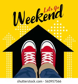 Let's GO Weekend - Top view Wear Red Sneakers on black arrow and yellow background vector art design