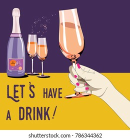 Let's have a drink. Vector illustration of champagne bottle with two glasses. Woman's hand holding the glass. Vector illustration on yellow and violet background