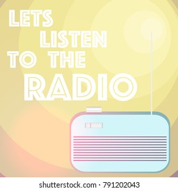 Lets listen to the radio. Vector illustration. Radio Day card. Midcentury style.