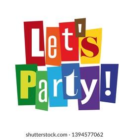 Let's party cut out letters