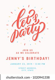 Let's party. Invitation template.