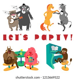 Let's party lettering, hippo with banjo, elephant, monkey with piano, dancing horse and donkey, bull and pig, drinking lemonade. Fine for greeting cards, home pages and invitations to parties and gigs