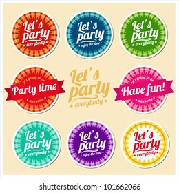 Let's party set of labels