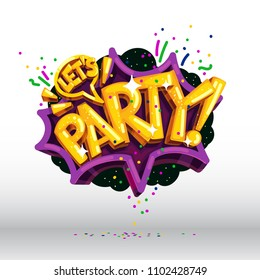 let's party vector speech bubble cartoon illustration