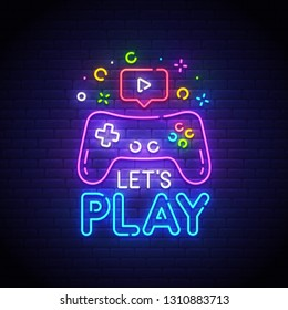 Let's Play neon sign, bright signboard, light banner. Game  logo neon, emblem. Vector illustration