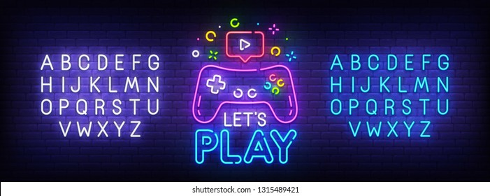 Let's Play neon sign, bright signboard, light banner. Game logo, emblem and label. Neon sign creator. Neon text edit