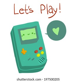 Let's Play postcard. Vector hand drawn illustration of tiny cute green game console. For ui, games, and patterns.