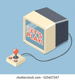 Lets play video games concept. Tv set and retro joystick gamepad. Isometric vector illustration.