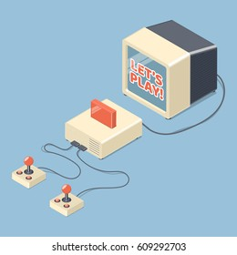 Lets play video games concept. Retro console with tv set and joystick controllers. Isometric vector illustration