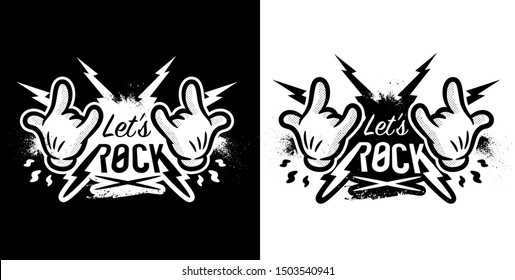 Lets Rock Music Hand sign shirt print for black and white - Vector