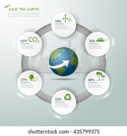 Let's save the Earth, Ecology concept infographics, Ecology icon, Ecology template vector illustration.