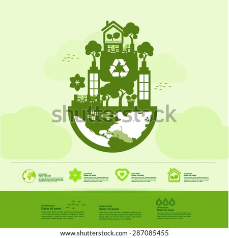 Lets Save Green World Together Stock Vector Royalty Free 287085455
