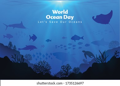 Let's save our oceans. World oceans day design with underwater ocean, dolphin, shark, coral, sea plants, stingray and turtle