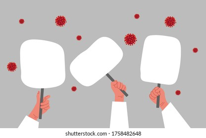 Lets stop coronavirus concept. People hands with tablet banner protest on a gray background.