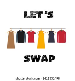 Let's SWAP - swap party Illustration with clothes and lettering