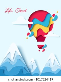 Lets Travel paper art concept of hot air balloon in sky with clouds over mountains. Vector travel origami paper cut banner