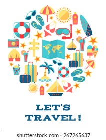 Lets travel. Vector concept . Illustration with different travel flat icons