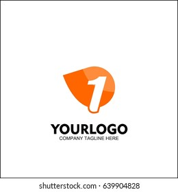 Letter 1 with Delivery service logo, Fast Speed, Moving and Quick, Digital and Technology for your Corporate identity, fresh orange brand concept