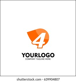 Letter 4 with Delivery service logo, Fast Speed, Moving and Quick, Digital and Technology for your Corporate identity, fresh orange brand concept