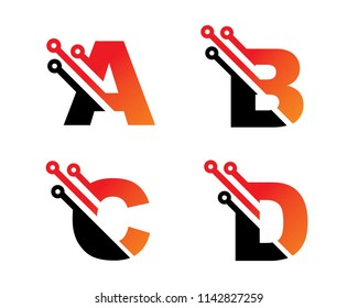 Letter A, B, C, D Template Design Vector, Emblem, Concept Design, Creative Symbol, Icon