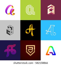 "Letter ""A"" big logo pack. Creative vector monograms. Eps10 format."