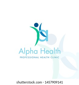 Letter a, happy human silhouette, health logo, vector icon