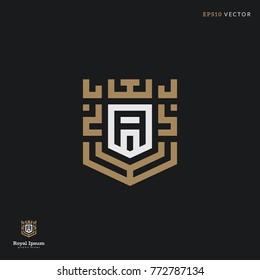 """Letter """"A"""" line logo. Royal goemetric frame illustration. Eps10 vector"""