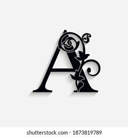 letter A. Vintage black flower ornament initial letters.  Alphabet. Logo vector