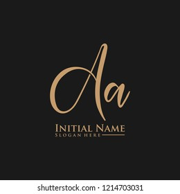 Letter Aa Logo. Initial Letter Design Vector Luxury Colors