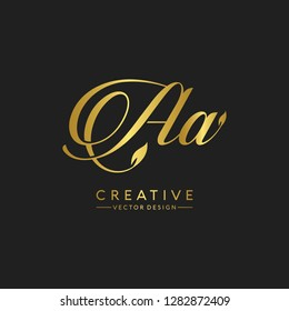 Letter Aa Logo Initial. Gold Letter Design Vector Golden Luxury Colors