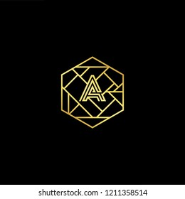 letter A AA minimalist art monogram hexogen shape logo, white color on black background