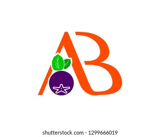 Letter AB With Aronia berry Logo Concept