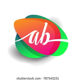 Letter AB logo with colorful splash background, letter combination logo design for creative industry, web, business and company.