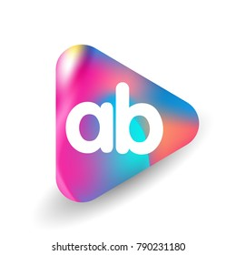 Letter AB logo in triangle shape and colorful background, letter combination logo design for business and company identity.