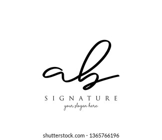Letter AB Signature Logo Template - Vector