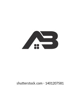 letter ab simple geometric home logo vector