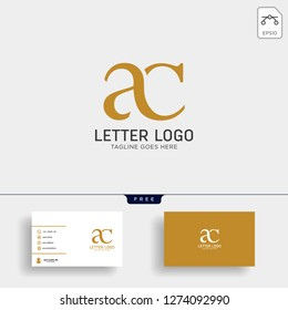 letter ac, ca gold creative logo template with business card