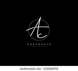 Letter AC Logo Manual Elegant Minimalist Signature Logotype