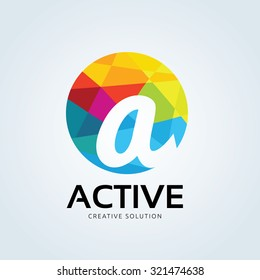 A letter Active Creative solution geographic logo template